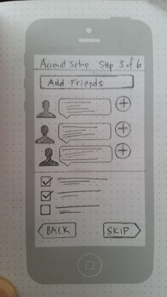 A pencil sketch of a UI for adding friends to your network.