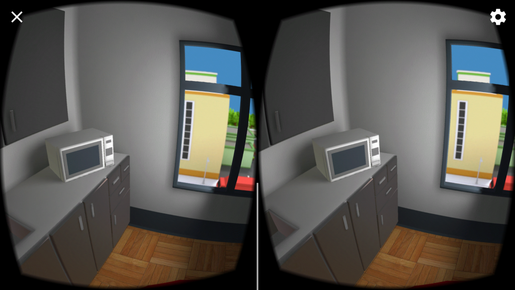 Screenshot showing a stereoscopic image of a 3D rendered kitchen.