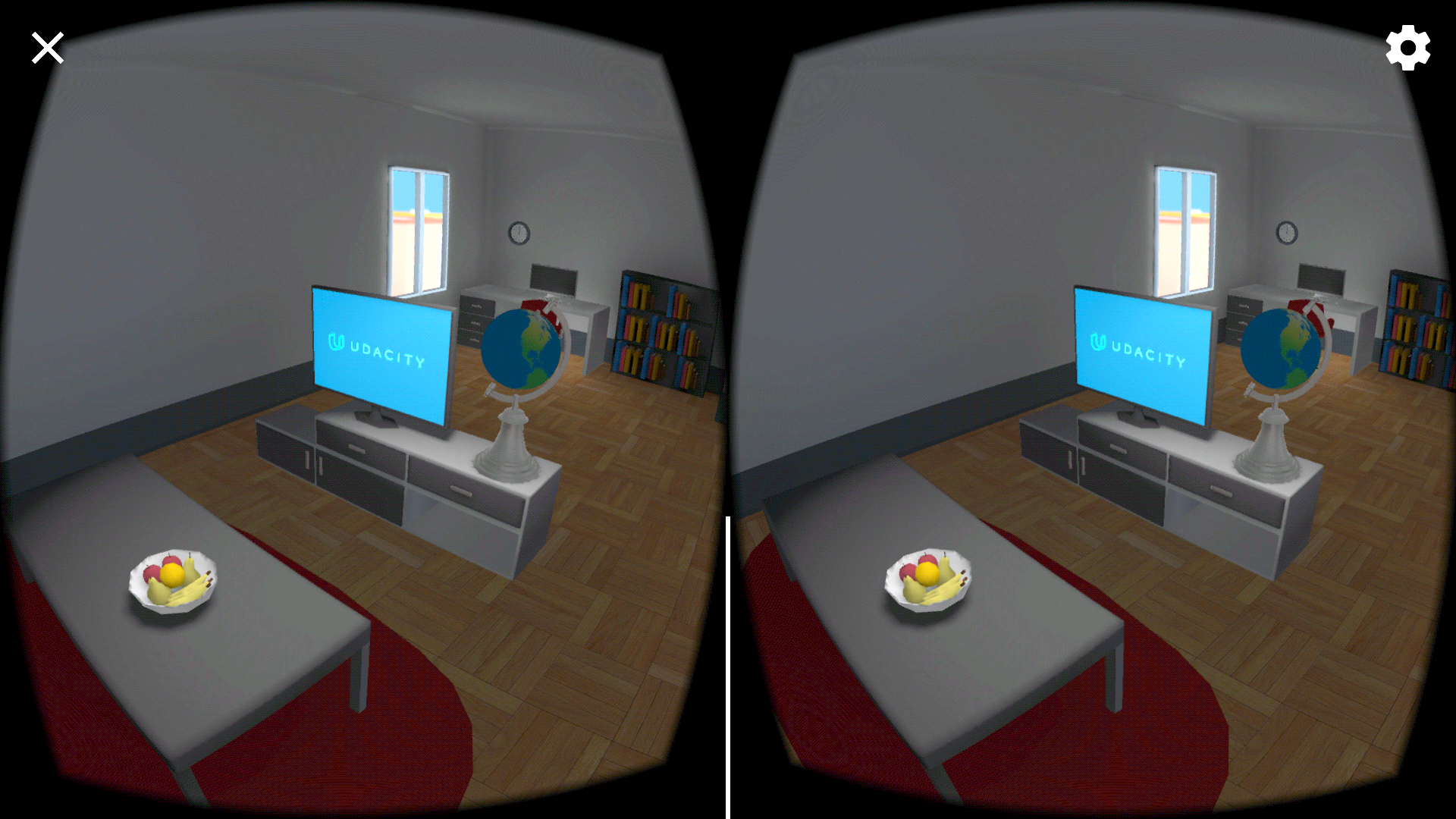 stereoscopic image of a 3D rendered apartment