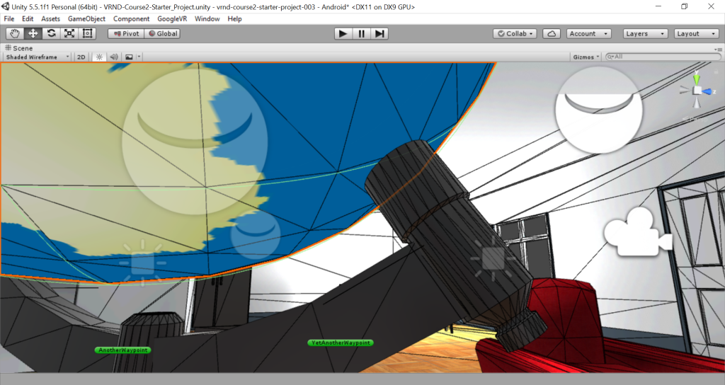 Close up of Unity interface, trying to align a globe to its stand.